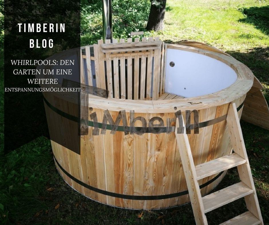 Whirlpool mit Holz Heizen Garten Entspannungsmöglichkeit