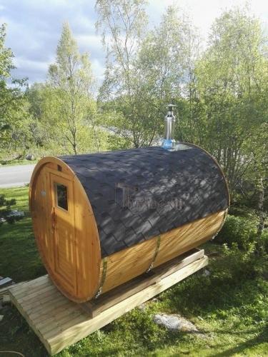 Utendørs Vedfyrt Tønne Badstuer, Leif, Lødingen, Norge (2)