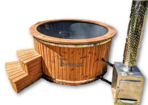 Badezuber Badefass mit Aussenofen Holzofen - Gasofen