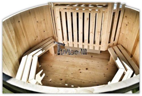 Holzbadefass mit Innen oder Aussenofen Fichte Larche