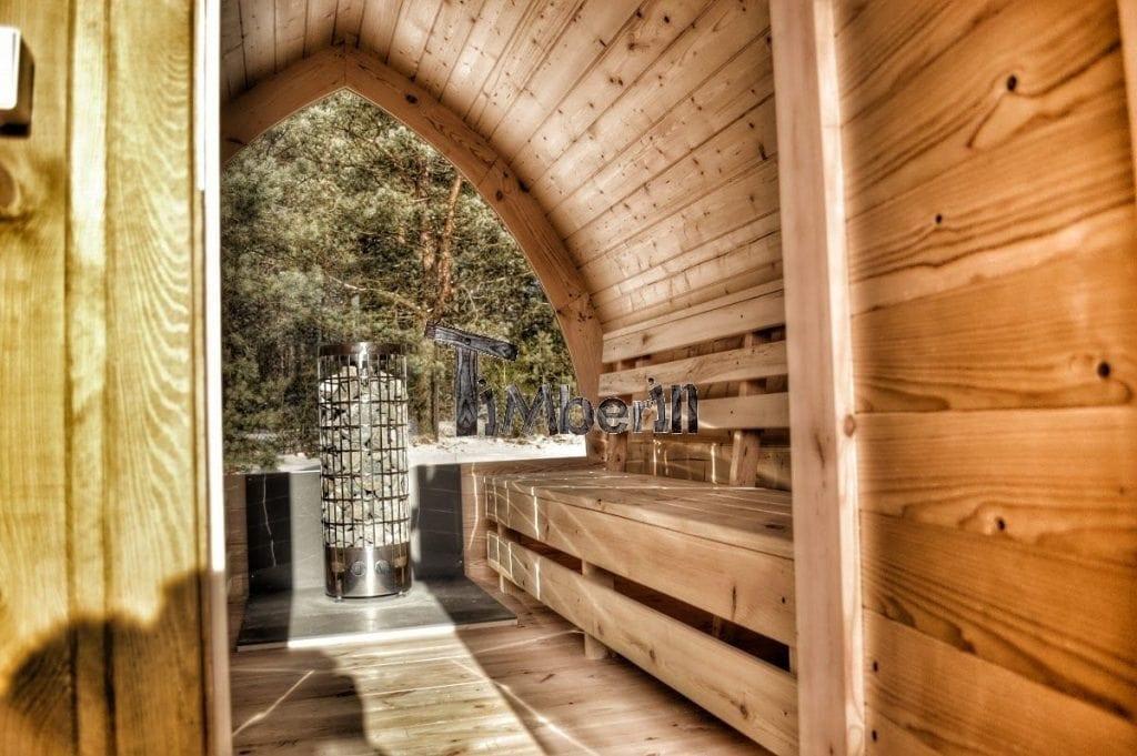 au ensauna mit vorraum und holz elektroofen igloo mit panoramafenster. Black Bedroom Furniture Sets. Home Design Ideas