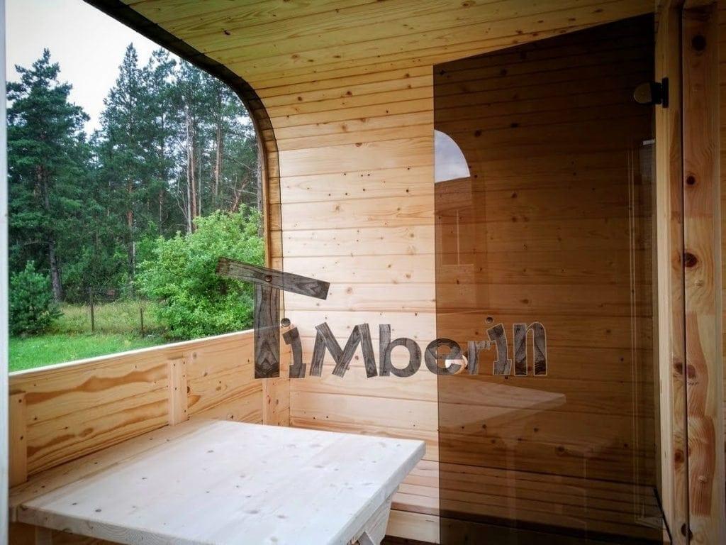 quadratische aussensauna mit harvia holzofen und vorraum. Black Bedroom Furniture Sets. Home Design Ideas
