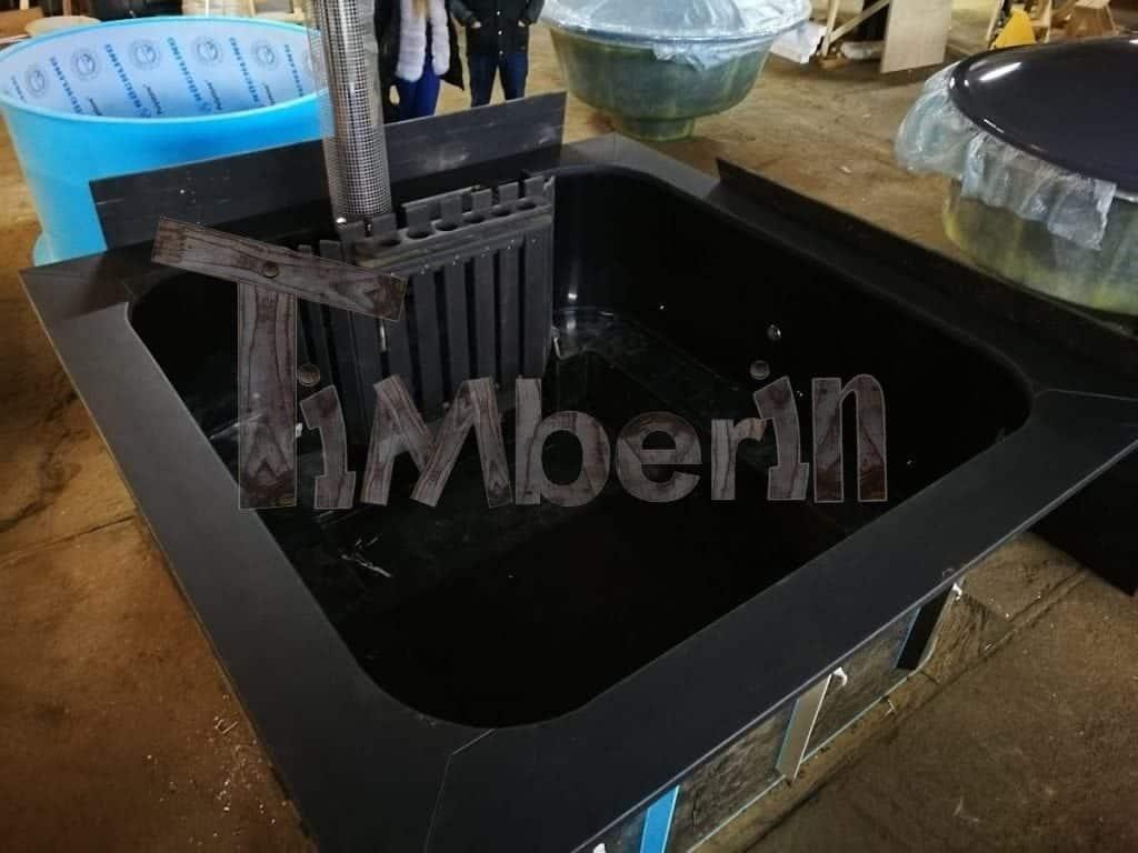 Badetonne eckig micro pool mit kunststoff timberin for Pool 4 eckig