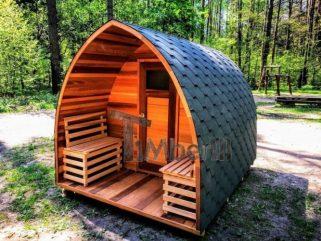 Außensauna-Iglu-mit-Veranda-Red-cedar-rote-Zeder-500x500 Fasssauna - Gartensauna - Saunafass - Außensauna mit Vorraum, Holzofen für draußen