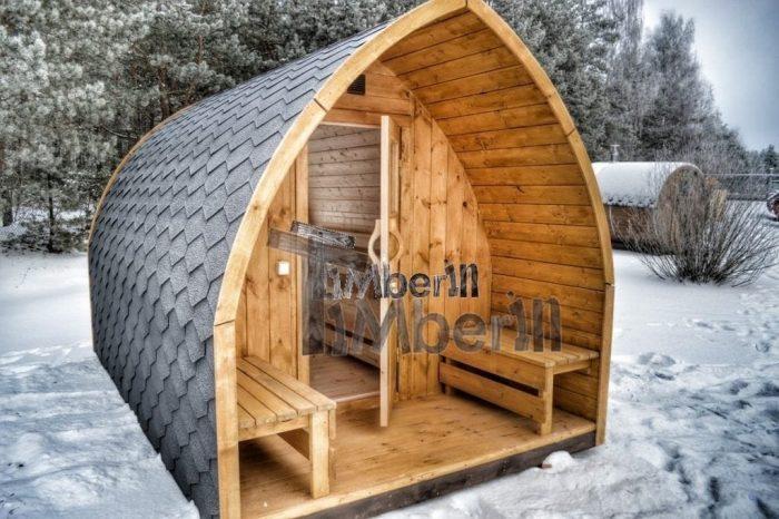 Aussensauna-mit-Elektroofen-und-Veranda-700x466 Fasssauna - Saunafass - Aussensauna mit Vorraum, Holzofen in der Schweiz kaufen