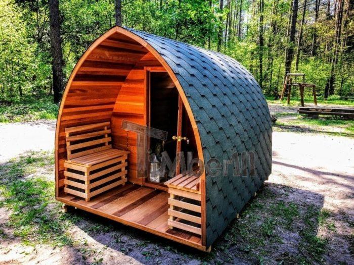 Gartensauna-Iglu-mit-Veranda-Red-cedar-rote-Zeder-700x525 Fasssauna - Saunafass - Aussensauna mit Vorraum, Holzofen in der Schweiz kaufen