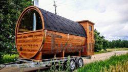 Saunafass-mobile-mit-Anhänger-nd-halbem-Panoramafenster-und-Holzofen-500x500 Fasssauna - Gartensauna - Saunafass - Außensauna mit Vorraum, Holzofen für draußen