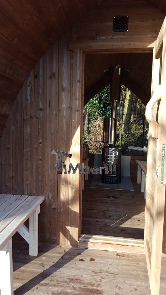 Outdoor sauna with Harvia M3 wood stove and veranda, Eike Mehmel, Steffenshagen, Germany