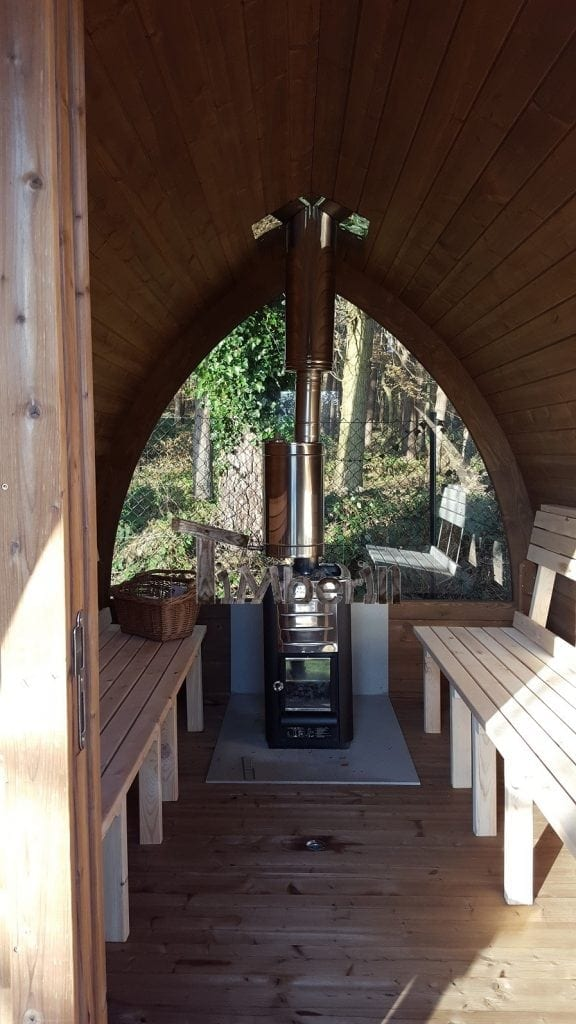 Outdoor sauna with Harvia M3 wood stove and veranda, Eike, Steffenshagen, Germany
