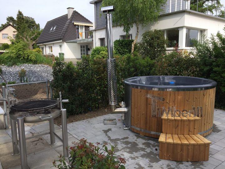 Badefass Gfk Thermoholz Mit Integriertem Ofen Wellness Royal, Beni, Magden, Schweiz (4)