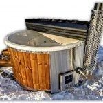Badezuber Badefass Hot Tube Mit Whirlpool Holzofen (29)