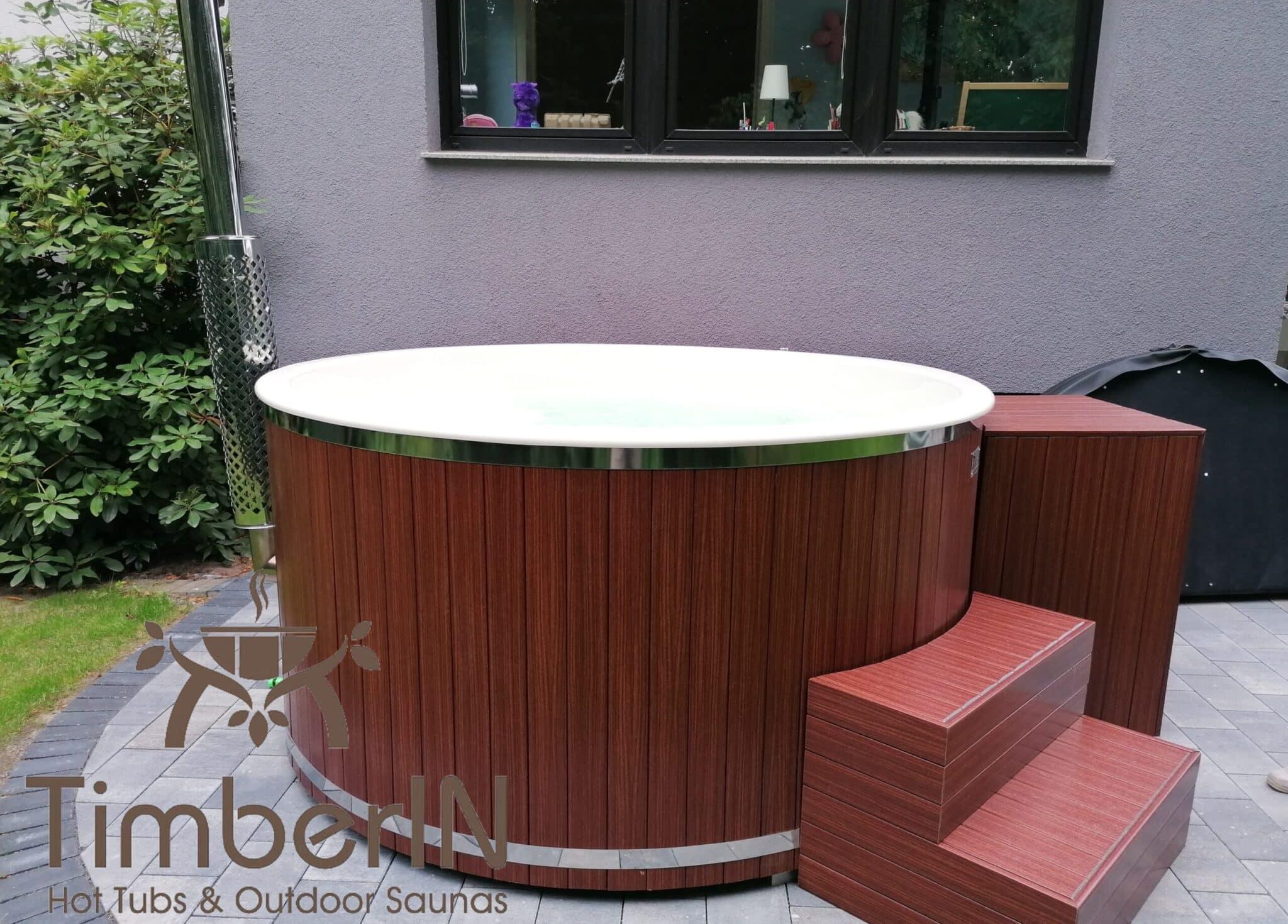 Badezuber Badefass GFK WPC – Thermoholz Verkleidung mit SMART Pellet oder Holzofen 2 1 scaled