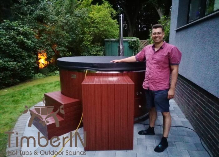 Badezuber Badefass GFK WPC – Thermoholz Verkleidung Mit SMART Pellet Oder Holzofen (4)