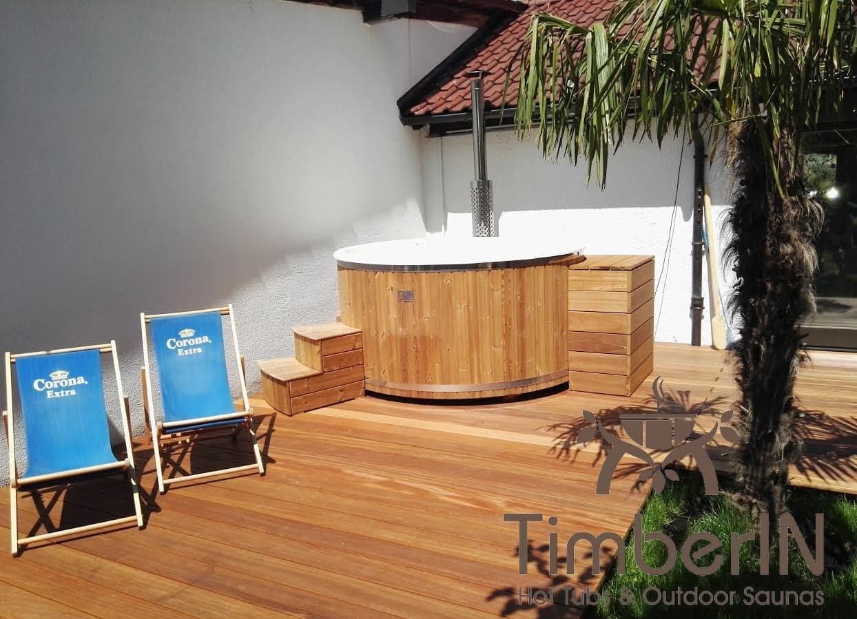 Badezuber Badefass Hot Tube mit Whirlpool Holzofen – TimberIN Rojal 1