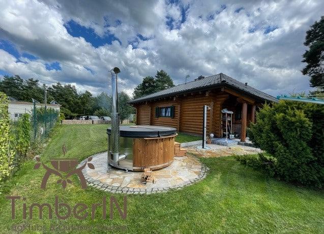 Badezuber Badefass Hot Tube mit Whirlpool Holzofen – TimberIN Rojal 3