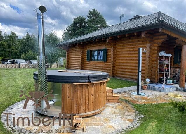 Badezuber Badefass Hot Tube Mit Whirlpool Holzofen – TimberIN Rojal (4)