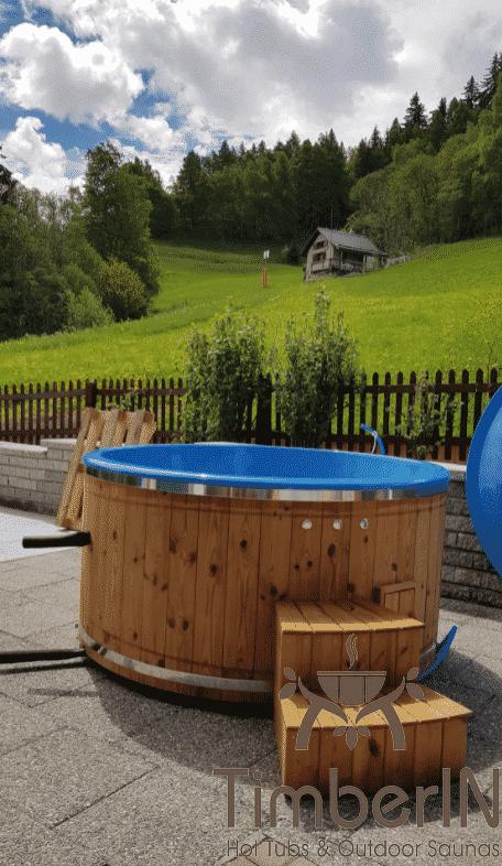 Badezuber GFK mit Aussenofen Holzofen Gasofen Joseph Unterbaech Schweiz