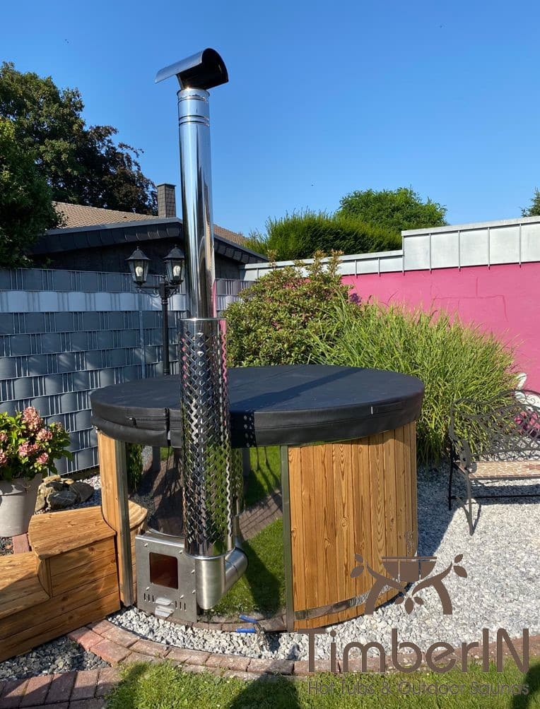 Badezuber Badefass Hot Tube mit Whirlpool Holzofen – TimberIN Rojal 1 1